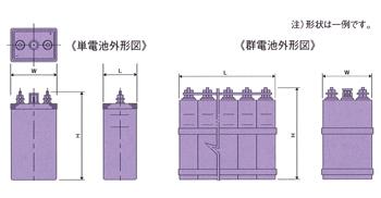 ポケット式アルカリ蓄電池外形図